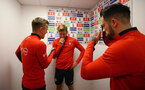 SOUTHAMPTON, ENGLAND - MAY 08: LtoR James Ward-Prowse pretends to interview Stuart Armstrong, while Danny Ings pretends to film ahead of a Southampton FC open training session at St Mary's Stadium on May 08, 2019 in Southampton, England. (Photo by James Bridle - Southampton FC/Southampton FC via Getty Images)