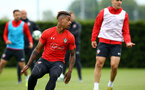 SOUTHAMPTON, ENGLAND - MAY 09: Mario Lemina (left) during a Southampton FC training session pictured at Staplewood Training Ground on May 9, 2019 in Southampton, England. (Photo by James Bridle - Southampton FC/Southampton FC via Getty Images)
