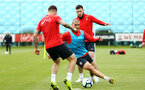 SOUTHAMPTON, ENGLAND - MAY 09: LtoR Danny Ings, Oriol Romeu, Pierre-Emile Hojbjerg during a Southampton FC training session pictured at Staplewood Training Ground on May 9, 2019 in Southampton, England. (Photo by James Bridle - Southampton FC/Southampton FC via Getty Images)