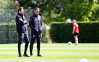 SOUTHAMPTON, ENGLAND - MAY 10: Danny Röhl(L) and Ralph Hasenhuttl during a Southampton FC training session at the Staplewood Campus on May 10, 2019 in Southampton, England. (Photo by Matt Watson/Southampton FC via Getty Images)