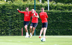 SOUTHAMPTON, ENGLAND - MAY 10: Jack Stephens(L) and Oriol Romeu during a Southampton FC training session at the Staplewood Campus on May 10, 2019 in Southampton, England. (Photo by Matt Watson/Southampton FC via Getty Images)