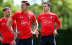 SOUTHAMPTON, ENGLAND - MAY 10: Pierre-Emile Hojbjerg(R) during a Southampton FC training session at the Staplewood Campus on May 10, 2019 in Southampton, England. (Photo by Matt Watson/Southampton FC via Getty Images)