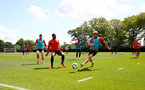 SOUTHAMPTON, ENGLAND - MAY 10: Kayne Ramsay(L) and Stuart Armstrong during a Southampton FC training session at the Staplewood Campus on May 10, 2019 in Southampton, England. (Photo by Matt Watson/Southampton FC via Getty Images)