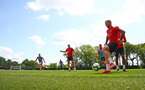 SOUTHAMPTON, ENGLAND - MAY 10: Charlie Austin on the ball during a Southampton FC training session at the Staplewood Campus on May 10, 2019 in Southampton, England. (Photo by Matt Watson/Southampton FC via Getty Images)