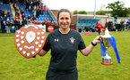 SOUTHAMPTON, ENGLAND - MAY 19: Marieanne Spacey-Cale holds the Cup Shield as well as the winners Trophy for the Womens Cup Final match between Southampton FC and Oxford pictured at AFC Totten on May 19, 2019 in Southampton, England. (Photo by James Bridle - Southampton FC/Southampton FC via Getty Images)