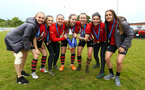 SOUTHAMPTON, ENGLAND - MAY 19: Southampton womens team hold the trophy after winning the Womens Cup Final match between Southampton FC and Oxford pictured at AFC Totten on May 19, 2019 in Southampton, England. (Photo by James Bridle - Southampton FC/Southampton FC via Getty Images)