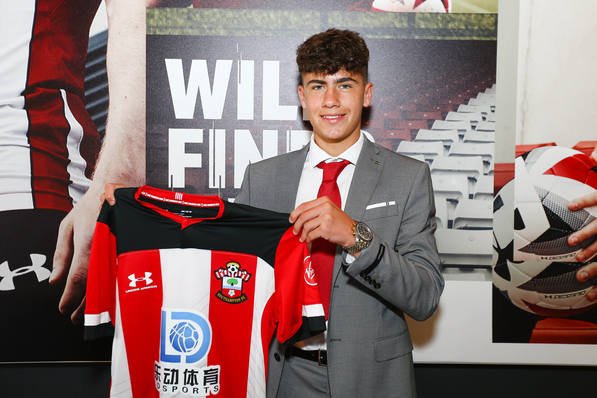 SOUTHAMPTON, ENGLAND - 28 JUNE: Marco Rus (Left) signs as a first year scholar with Southampton FC on June 28, 2018 pictured at St Marys Stadium, Southampton, England. (Photo by James Bridle - Southampton FC/Southampton FC via Getty Images)