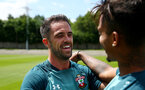 SOUTHAMPTON, ENGLAND - JULY 02: Danny Ings(L) and Mario Lemina during Southampton FC's second day of pre season training at the Staplewood Campus on July 02, 2019 in Southampton, England. (Photo by Matt Watson/Southampton FC via Getty Images)