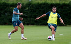 SOUTHAMPTON, ENGLAND - JULY 03: Danny Ings(L) and Jack Stephens during a Southampton FC pre-season training session at the Staplewood Campus on July 03, 2019 in Southampton, England. (Photo by Matt Watson/Southampton FC via Getty Images)