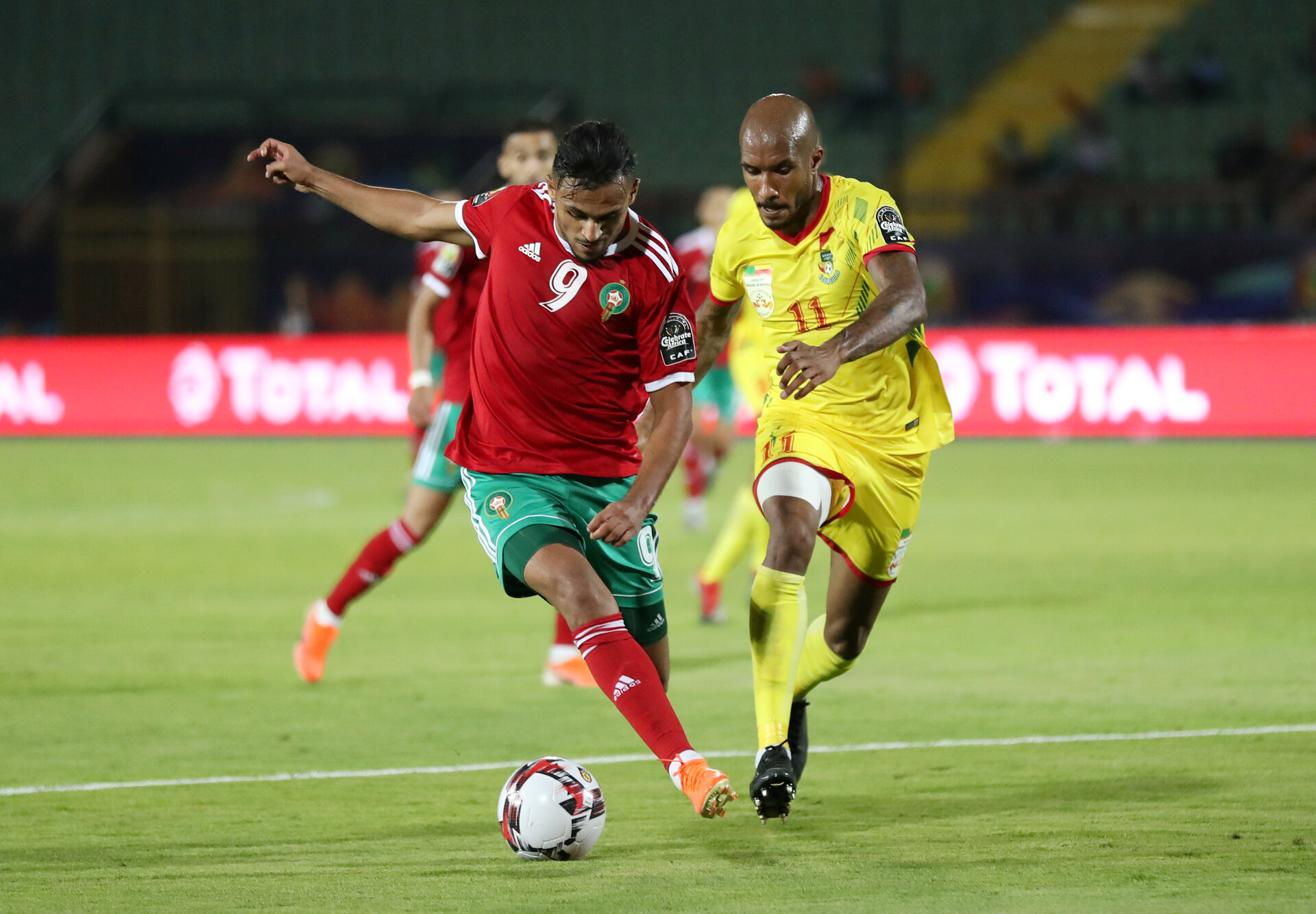Soccer Football - Africa Cup of Nations 2019 - Round of 16 - Morocco v Benin - Al Salam Stadium, Cairo, Egypt - July 5, 2019  Morocco's Sofiane Boufal in action with Benin's Emmanuelle Imorou      REUTERS/Suhaib Salem