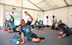 SCHRUNS, AUSTRIA - JULY 09: Players warm up and stretch during a Southampton FC pre-season training session, on July 09, 2019 in Schruns, Austria. (Photo by Matt Watson/Southampton FC via Getty Images)