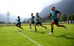 SCHRUNS, AUSTRIA - JULY 09: L to R Michael Obafemi, Shane Long, Jake Vokins and Che Adams during a Southampton FC pre-season training session, on July 09, 2019 in Schruns, Austria. (Photo by Matt Watson/Southampton FC via Getty Images)