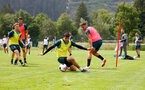 SCHRUNS, AUSTRIA - JULY 09: Mohamed Elyounoussi(L) and Che Adams(R) during a Southampton FC pre-season training session, on July 09, 2019 in Schruns, Austria. (Photo by Matt Watson/Southampton FC via Getty Images)