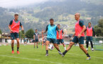 SCHRUNS, AUSTRIA - JULY 09: L to R Will Smallbone, Danny Ings and Oriol Romeu during a Southampton FC pre-season training session, on July 09, 2019 in Schruns, Austria. (Photo by Matt Watson/Southampton FC via Getty Images)