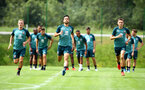 SCHRUNS, AUSTRIA - JULY 09: L to R James Ward-Prowse, Maya Yoshida and Will Smallbone during a Southampton FC pre-season training session, on July 09, 2019 in Schruns, Austria. (Photo by Matt Watson/Southampton FC via Getty Images)