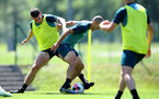 SCHRUNS, AUSTRIA - JULY 10: Pierre-Emile Hojbjerg(L) and Oriol Romeu during a pre season training session on July 10, 2019 in Schruns, Austria. (Photo by Matt Watson/Southampton FC via Getty Images)