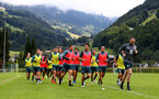 SCHRUNS, AUSTRIA - JULY 13: Players warm up during a Southampton FC pre season training session on July 13, 2019 in Schruns, Austria. (Photo by Matt Watson/Southampton FC via Getty Images)