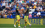 PRESTON, ENGLAND - JULY 20: LtoR Shane Long shakes hands with his team mate Danny Ings as he scores for Southampton FC during the pre-season friendly game between Preston North End and Southampton FC pictured at Deepdale on July 20, 2019 in Preston, England. (Photo by James Bridle - Southampton FC/Southampton FC via Getty Images)