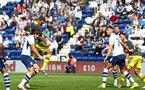 PRESTON, ENGLAND - JULY 20: Danny Ings scores from a header (left) during the pre-season friendly game between Preston North End and Southampton FC pictured at Deepdale on July 20, 2019 in Preston, England. (Photo by James Bridle - Southampton FC/Southampton FC via Getty Images)