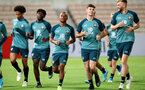 Players warm up during a Southampton FC training session while on their Pre Season trip to Macau, China, 22nd July 2019