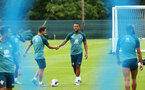 DUBLIN, ENGLAND - JULY 24: LtoR Cedric Soares, shakes hands with Ryan Bertrand during a Southampton FC training session pictured at Carton House Spa and Resort for Pre-Season Training on July 24, 2019 in Southampton, England. (Photo by James Bridle - Southampton FC/Southampton FC via Getty Images)