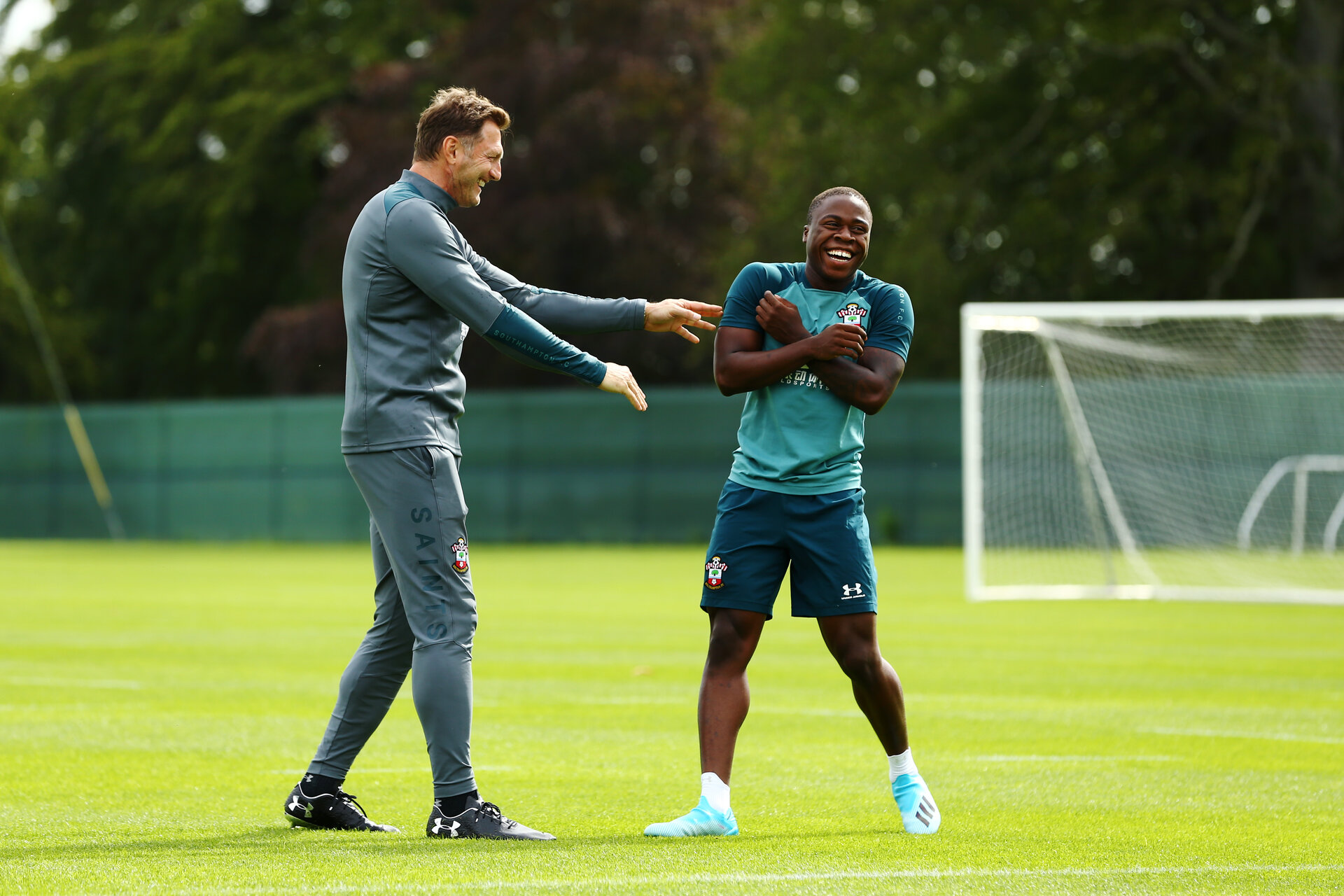DUBLIN, ENGLAND - JULY 24: LtoR Ralph Hasenhuttl with Michael Obafemi during a Southampton FC training session pictured at Carton House Spa and Resort for Pre-Season Training on July 24, 2019 in Southampton, England. (Photo by James Bridle - Southampton FC/Southampton FC via Getty Images)