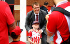 SOUTHAMPTON, ENGLAND - AUGUST 03: Southampton FC ambassador Matt Le Tissier poses for photos with young fans ahead of the Pre-Season Friendly match between Southampton FC and FC Köln pictured at St. Mary's Stadium on August 03, 2019 in Southampton, England. (Photo by James Bridle - Southampton FC/Southampton FC via Getty Images)