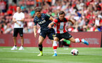 SOUTHAMPTON, ENGLAND - AUGUST 03: Cedric Soares(R) of Southampton during the Pre-Season Friendly match between Southampton FC and FC Köln at St. Mary's Stadium on August 03, 2019 in Southampton, England. (Photo by Matt Watson/Southampton FC via Getty Images,)