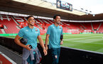 SOUTHAMPTON, ENGLAND - AUGUST 03: Ché Adams(L) and Maya Yoshida of Southampton ahead of the Pre-Season Friendly match between Southampton FC and FC Köln at St. Mary's Stadium on August 03, 2019 in Southampton, England. (Photo by Matt Watson/Southampton FC via Getty Images,)