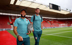 SOUTHAMPTON, ENGLAND - AUGUST 03: Nathan Redmond(L) and Fraser Forster of Southampton FC ahead of the Pre-Season Friendly match between Southampton FC and FC Köln at St. Mary's Stadium on August 03, 2019 in Southampton, England. (Photo by Matt Watson/Southampton FC via Getty Images,)