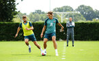 SOUTHAMPTON, ENGLAND - AUGUST 08: LtoR Jack Stephens, Jannik Vestergaard during a first team training session pictured at Staplewood Training Ground on August 06, 2019 in Southampton, England. (Photo by James Bridle - Southampton FC/Southampton FC via Getty Images)