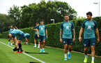 SOUTHAMPTON, ENGLAND - AUGUST 08: Danny Ings makes a funny face (right) during a first team training session pictured at Staplewood Training Ground on August 06, 2019 in Southampton, England. (Photo by James Bridle - Southampton FC/Southampton FC via Getty Images)