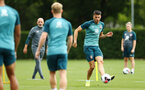 SOUTHAMPTON, ENGLAND - AUGUST 08: Wesley Hoedt (right) during a first team training session pictured at Staplewood Training Ground on August 06, 2019 in Southampton, England. (Photo by James Bridle - Southampton FC/Southampton FC via Getty Images)