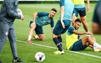 SOUTHAMPTON, ENGLAND - AUGUST 07: Shane Long (middle)  during a Southampton FC training session pictured at Staplewood Training Ground on August 07, 2019 in Southampton, England. (Photo by James Bridle - Southampton FC/Southampton FC via Getty Images)