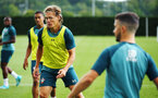 SOUTHAMPTON, ENGLAND - AUGUST 07: Jannik Vestergaard (left) during a Southampton FC training session pictured at Staplewood Training Ground on August 07, 2019 in Southampton, England. (Photo by James Bridle - Southampton FC/Southampton FC via Getty Images)