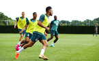 SOUTHAMPTON, ENGLAND - AUGUST 07: Sofiane Boufal  (middle)  during a Southampton FC training session pictured at Staplewood Training Ground on August 07, 2019 in Southampton, England. (Photo by James Bridle - Southampton FC/Southampton FC via Getty Images)