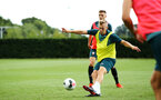 SOUTHAMPTON, ENGLAND - AUGUST 07: James Ward-Prowse (middle) during a Southampton FC training session pictured at Staplewood Training Ground on August 07, 2019 in Southampton, England. (Photo by James Bridle - Southampton FC/Southampton FC via Getty Images)
