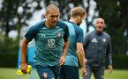 SOUTHAMPTON, ENGLAND - AUGUST 08: Oriol Romeu (left) during a Southampton FC Training Session pictured at Staplewood Training Ground on August 08, 2019 in Southampton, England. (Photo by James Bridle - Southampton FC/Southampton FC via Getty Images)