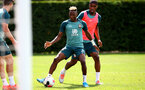 SOUTHAMPTON, ENGLAND - AUGUST 13: Moussa Djenepo(L) and Kevin Danso  during a Southampton FC training session at the Staplewood Campus on August 13, 2019 in Southampton, England. (Photo by Matt Watson/Southampton FC via Getty Images)