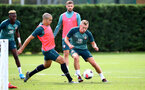 SOUTHAMPTON, ENGLAND - AUGUST 13: Oriol Romeu(L) and James Ward-Prowse during a Southampton FC training session at the Staplewood Campus on August 13, 2019 in Southampton, England. (Photo by Matt Watson/Southampton FC via Getty Images)