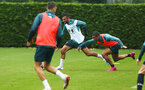 SOUTHAMPTON, ENGLAND - AUGUST 14: Sofiane Boufal  (middle)  Yan Valery (right) during a Southampton FC Training session pictured on August 14, 2019 in Southampton, England. (Photo by James Bridle - Southampton FC/Southampton FC via Getty Images)