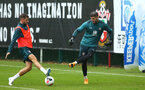 SOUTHAMPTON, ENGLAND - AUGUST 14: Jack Stephens vs Fraser Forster during a Southampton FC Training session pictured on August 14, 2019 in Southampton, England. (Photo by James Bridle - Southampton FC/Southampton FC via Getty Images)