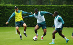 SOUTHAMPTON, ENGLAND - AUGUST 14: LtoR Mohamed Elyounoussi, Kevin Danso, Michael Obafemi during a Southampton FC Training session pictured on August 14, 2019 in Southampton, England. (Photo by James Bridle - Southampton FC/Southampton FC via Getty Images)