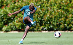 SOUTHAMPTON, ENGLAND - AUGUST 15: Moussa Djenepo during a Southampton FC Training session pictured on August 15, 2019 in Southampton, England. (Photo by James Bridle - Southampton FC/Southampton FC via Getty Images)