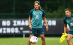 SOUTHAMPTON, ENGLAND - AUGUST 15: Jannik Vestergaard (middle) during a Southampton FC Training session pictured on August 15, 2019 in Southampton, England. (Photo by James Bridle - Southampton FC/Southampton FC via Getty Images)
