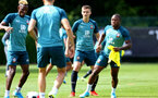 SOUTHAMPTON, ENGLAND - AUGUST 15: Will Smallbone (middle) during a Southampton FC Training session pictured on August 15, 2019 in Southampton, England. (Photo by James Bridle - Southampton FC/Southampton FC via Getty Images)