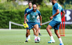 SOUTHAMPTON, ENGLAND - AUGUST 15: Nathan Redmond (middle)  during a Southampton FC Training session pictured on August 15, 2019 in Southampton, England. (Photo by James Bridle - Southampton FC/Southampton FC via Getty Images)