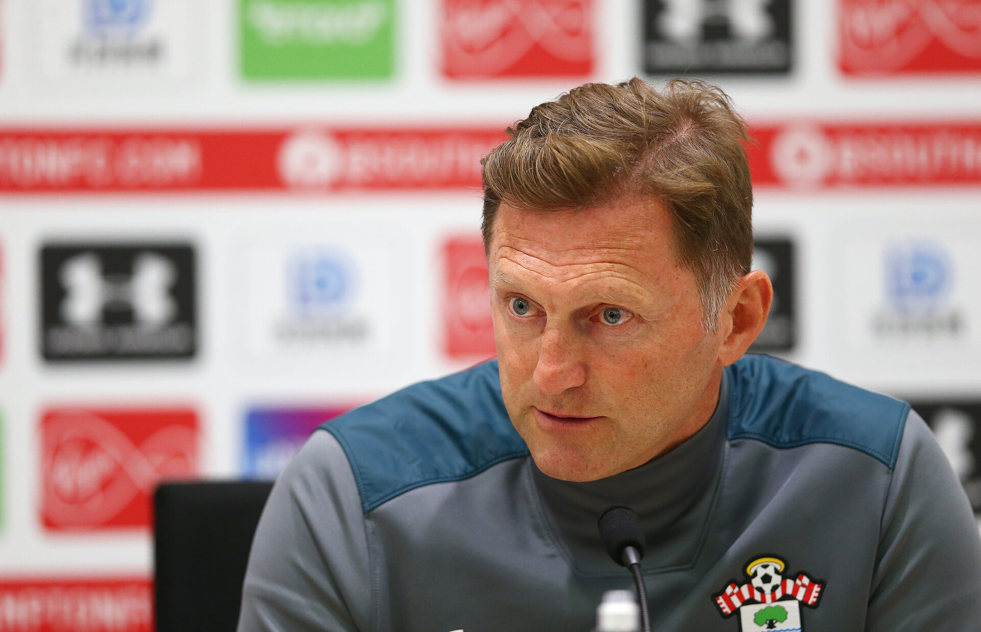 SOUTHAMPTON, ENGLAND - AUGUST 15: Manager Ralph Hasenhuttl duPring a Southampton FC press conference at the Staplewood Campus on August 15, 2019 in Southampton, England. (Photo by Matt Watson/Southampton FC via Getty Images)