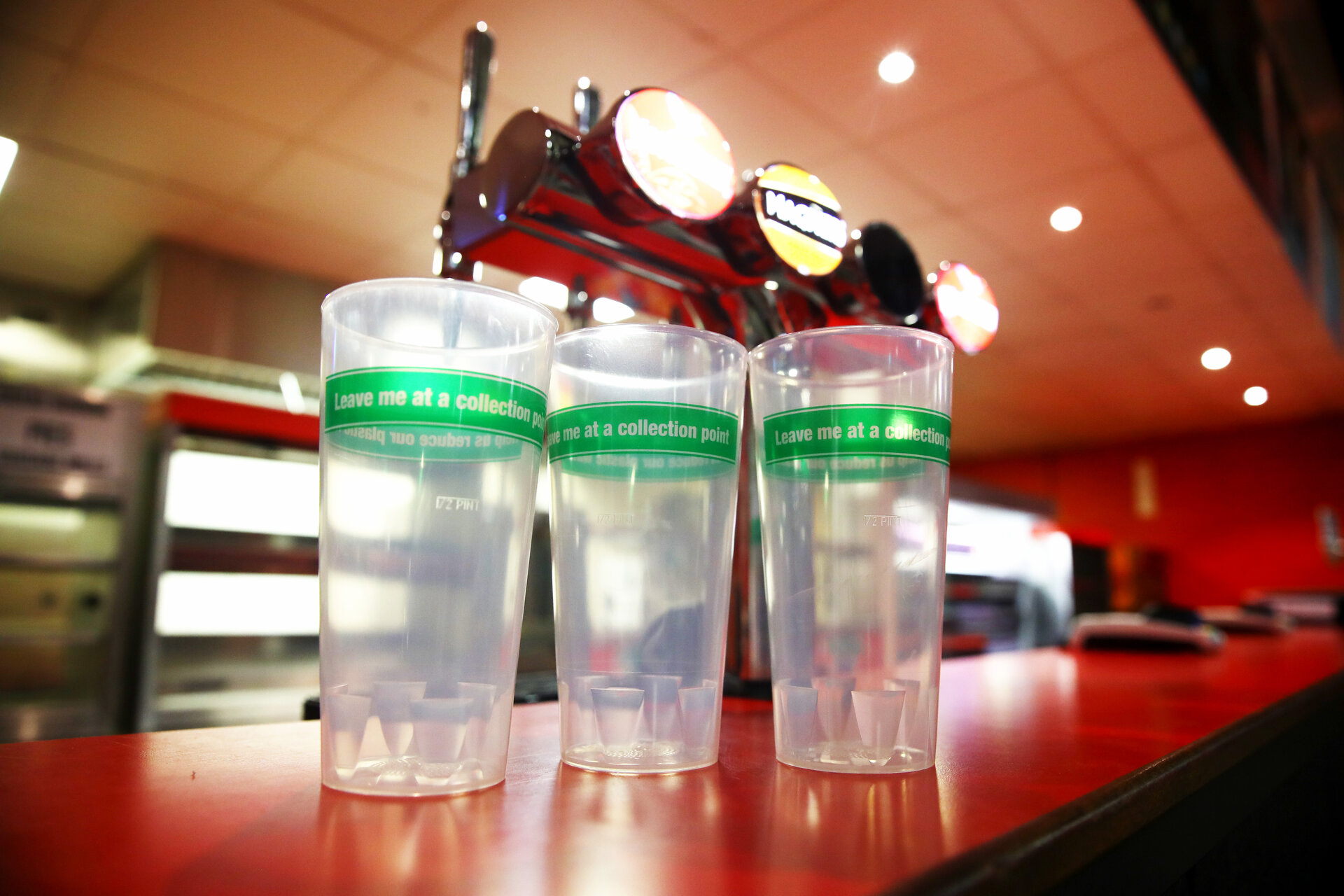 Reusable drinks cups pictured in the concourse within St Marys stadium, Southampton, 16th August 2019
