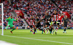 SOUTHAMPTON, ENGLAND - AUGUST 17: Players fight for the ball during the Premier League match between Southampton FC and Liverpool FC at St Mary's Stadium on August 17, 2019 in Southampton, United Kingdom. (Photo by Matt Watson/Southampton FC via Getty Images)